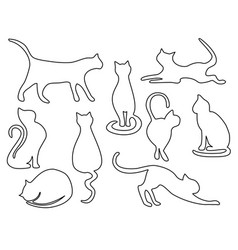 Cat one line drawing vector
