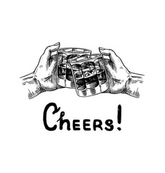 Cheers toast a glass whiskey in hands vector