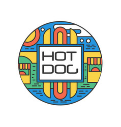 Colorful linear logo with hot dog abstract round vector