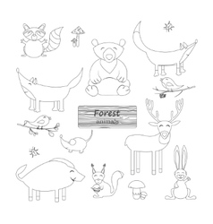 Coloring book Forest animals vector image