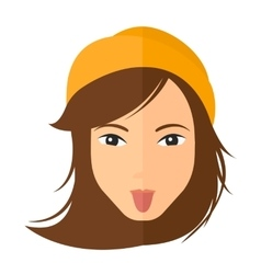Contemptuous woman sticking out her tongue vector
