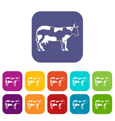 Cow icons set vector