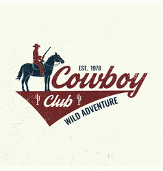 Cowboy club badge t-shirt ranch rodeo vector