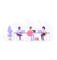 coworking space with creative people at table vector image