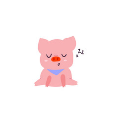 cute and sleeping little pig character vector image