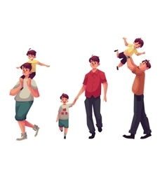 Dad with his little son playing and walking vector image