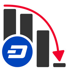 Dashcoin falling acceleration chart flat icon vector