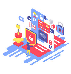 Data protection isometric vector