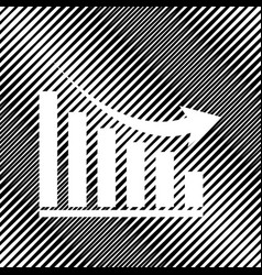Declining graph sign icon hole in moire vector