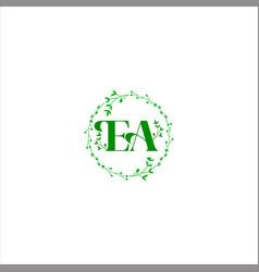 E a letter logo emblem design on black color vector