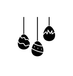 easter eggs black icon sign on isolated vector image