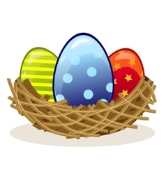 Easter eggs in the nest vector image