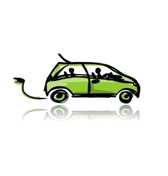 Electric eco car sketch for your design vector image
