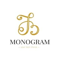 elegant hand lettered B letter monogram vector image