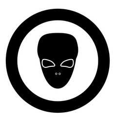 extraterrestrial alien face or head black icon in vector image