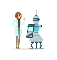 female scientist working with robot in a modern vector image