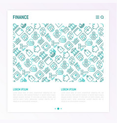 finance concept with thin line icons vector image