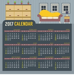 Flat Design Living Room 2017 Printable Calendar vector image
