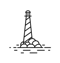 flat linear light house vector image