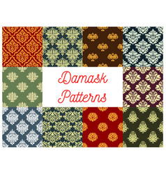 floral patterns of seamless damask flower tracery vector image