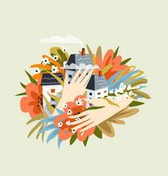 flowers and houses neighbourhood design hands vector image