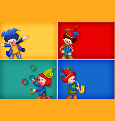 Four background template designs with funny clowns vector