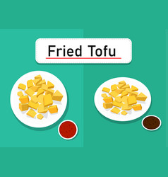 fried tofu in top and perspective view art vector image