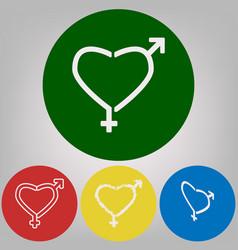 Gender signs in heart shape 4 white vector
