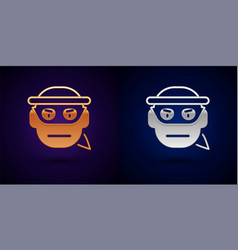 Gold and silver bandit icon isolated on black vector