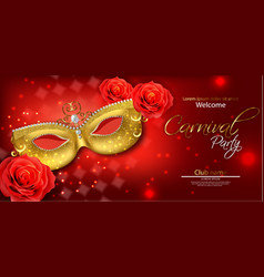 golden mask and red rose realistic stylish vector image