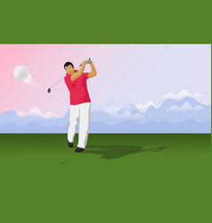 Golfers are hitting ball on golf course vector
