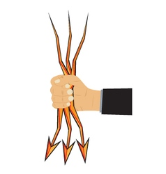 Hand and arrow-lightning vector image