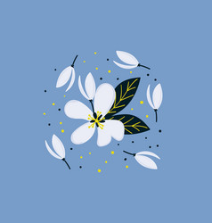 Hand drawn apple blossom flowers creative floral vector