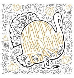Handpainted of a Turkey and autumn gifts vector image