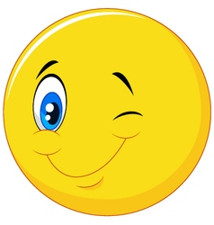 Happy emoticon cartoon with eye blinking vector