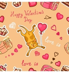 happy valentines cat vector image
