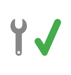Icon concept of spanner with check mark vector