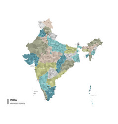 india higt detailed map with subdivisions vector image