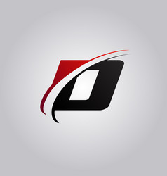 initial d letter logo with swoosh colored red and vector image