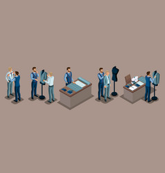 Isometric tailor work with a client in a sewing w vector