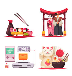 japan symbols compositions set vector image