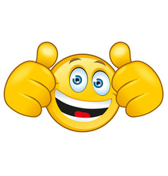 laughing smilie with a thumbs up sign vector image