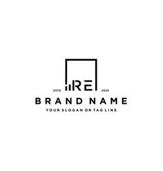 Letter re square logo finance design vector