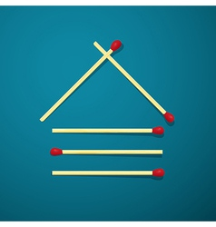 Log house made from matches on blue background vector image