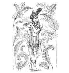 Lord krishna playing flute vector