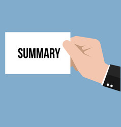 Man showing paper summary text vector