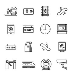 Metro underground subway linear icons set vector