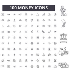 money editable line icons 100 set vector image