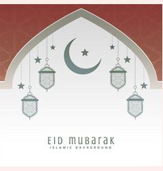 mosque door with moon and hanging lantern eid vector image