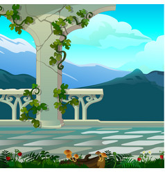 mountain views from balcony with ornate vector image